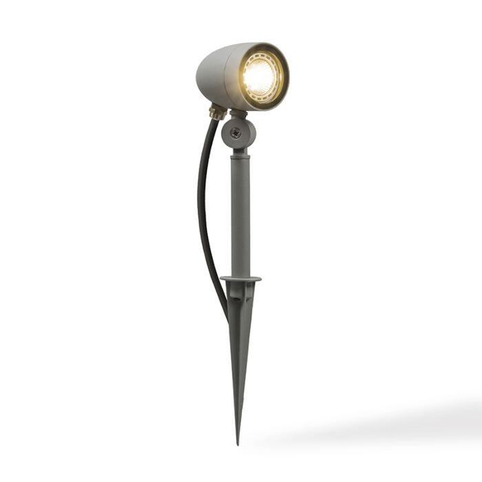 Trädgård-strålkastare-med-spett-'Signal'-Industriell-grå/aluminium---Passande-för-LED-/-Utomhuslampa