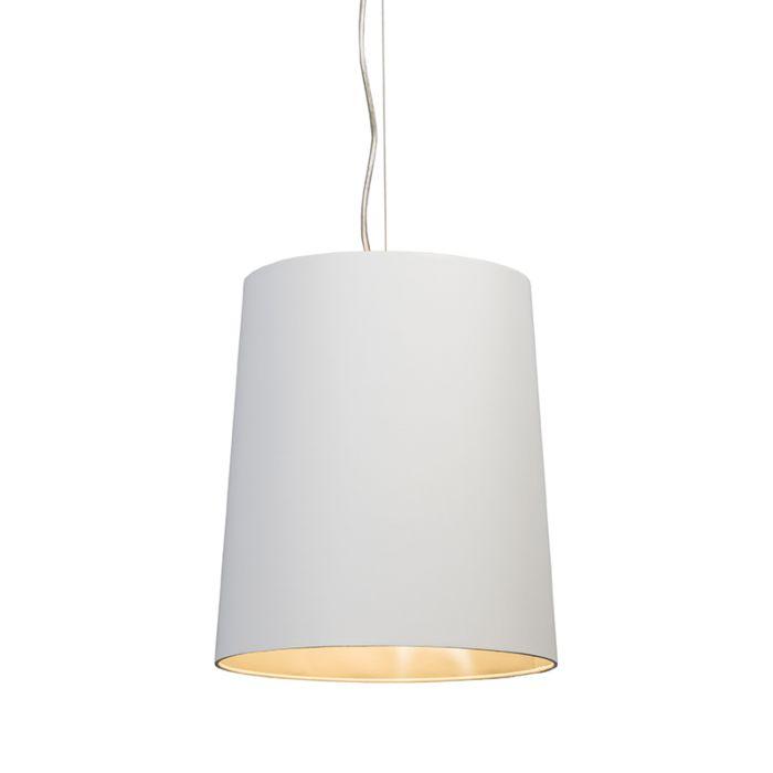 Taklampa-'Cappo-1'-Lantlig-vit/tyg---Passande-för-LED-/-Inomhus