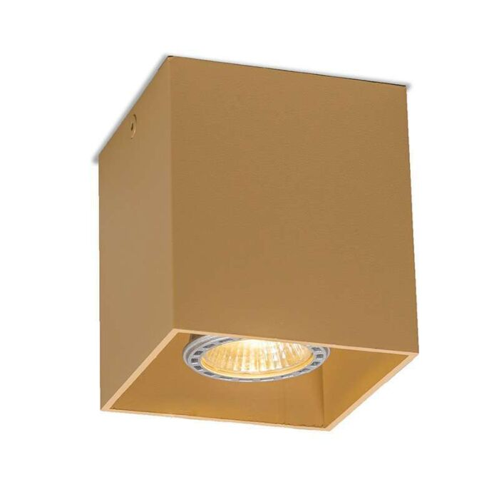 Plafond-strålkastare-'Qubo-1'-Moderna-beige/aluminium---Passande-för-LED-/-Inomhus