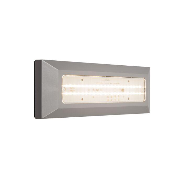Vägglampa-'Brick'-Moderna-grå/polyester---LED-inkluderat-/-Utomhus,-Inomhus