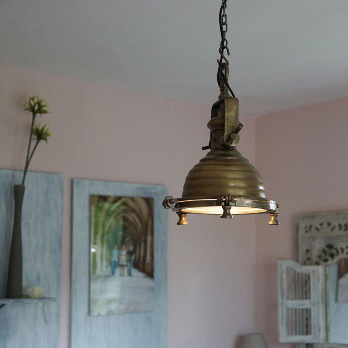 Taklampa-'Fort-Raw-S'-Industriell-brons/nickel---Passande-för-LED-/-Inomhus