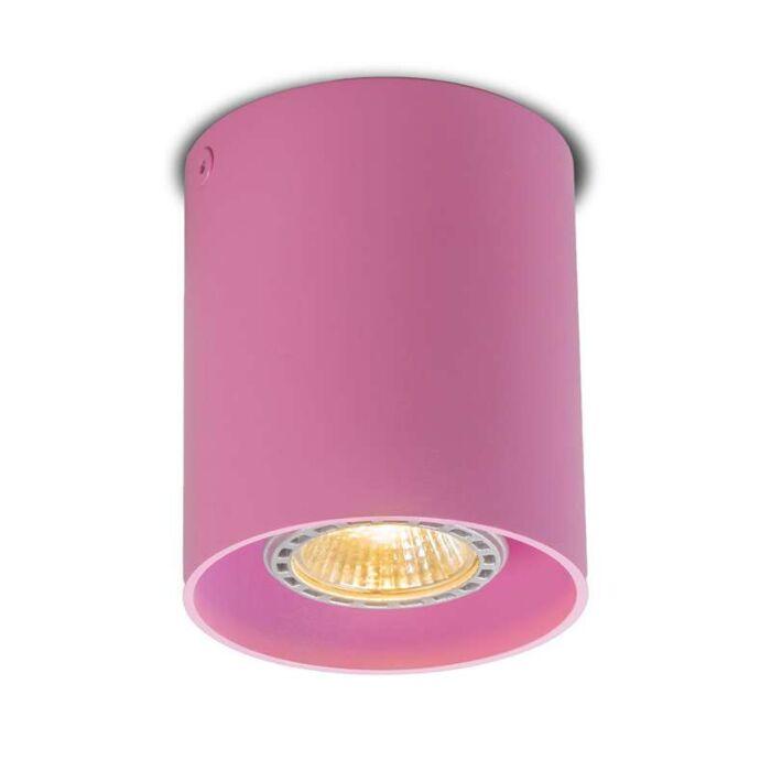 Plafond-strålkastare-'Tubo-1'-Moderna-rosa/aluminium---Passande-för-LED-/-Inomhus