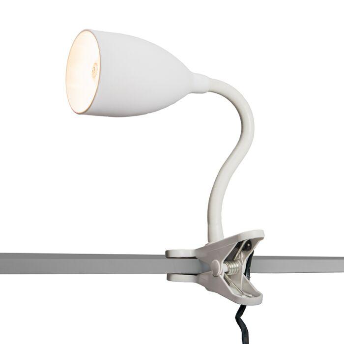 Klämlampa-'Young-Flex'-Moderna-vit/polyester---Passande-för-LED-/-Inomhus
