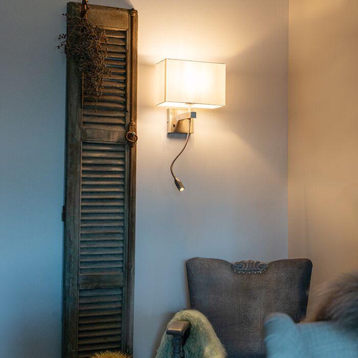 Bergamo-stålvägglampa-med-nyans-av-krämvit