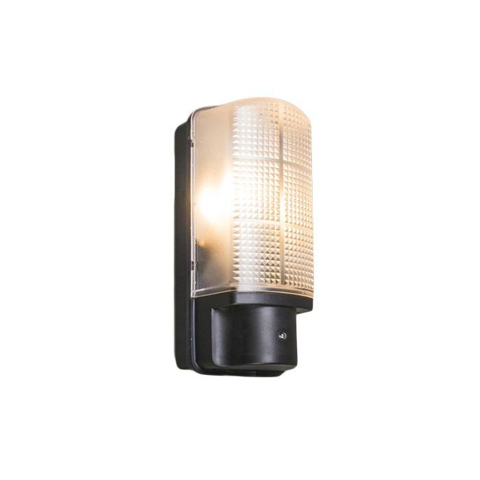 Yttervägg-ljus-svart-med-ljusmörk-switch-IP44---Mossa