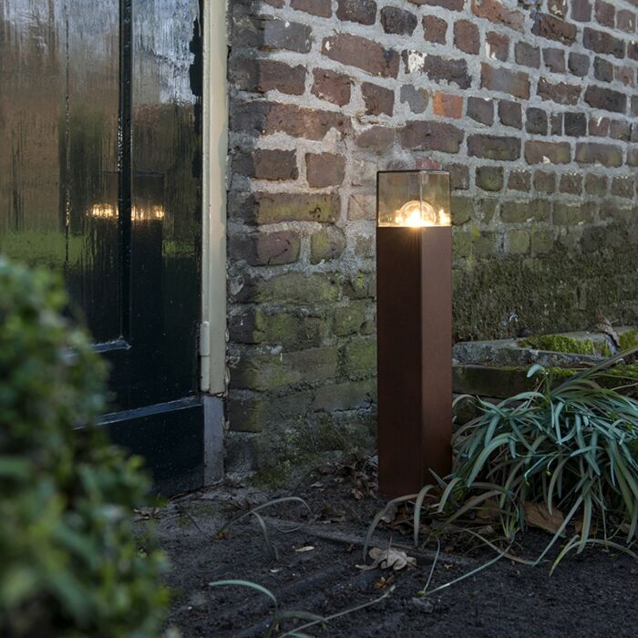 Industriell-stående-utomhuslampa-50-cm-rostbrun-IP44---Danmark