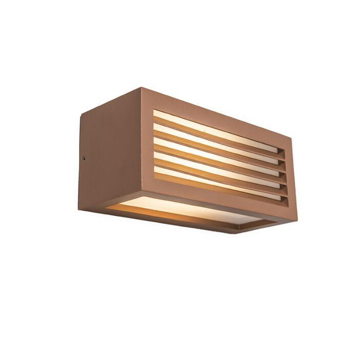 Vägglampa-'Angle-3'-Moderna-brunrost/aluminium---Passande-för-LED-/-Utomhuslampa
