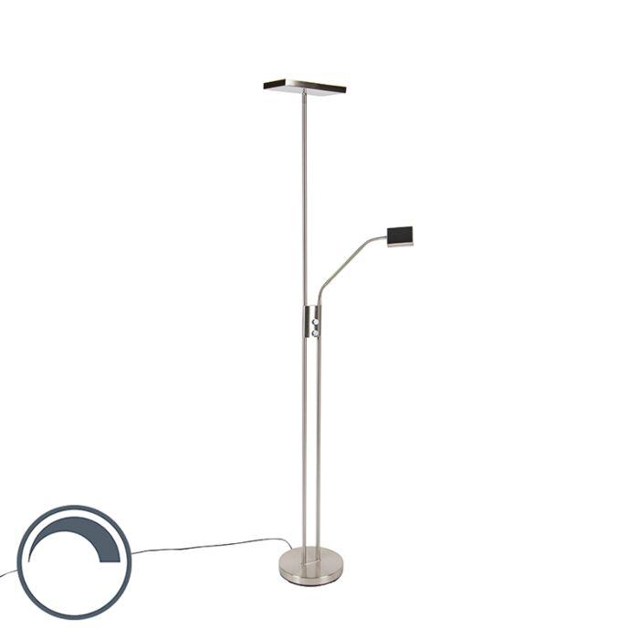 Modern-golvlampa-inkl.-LED-och-dimmer-med-läslampa---Uplighter-Jazzy