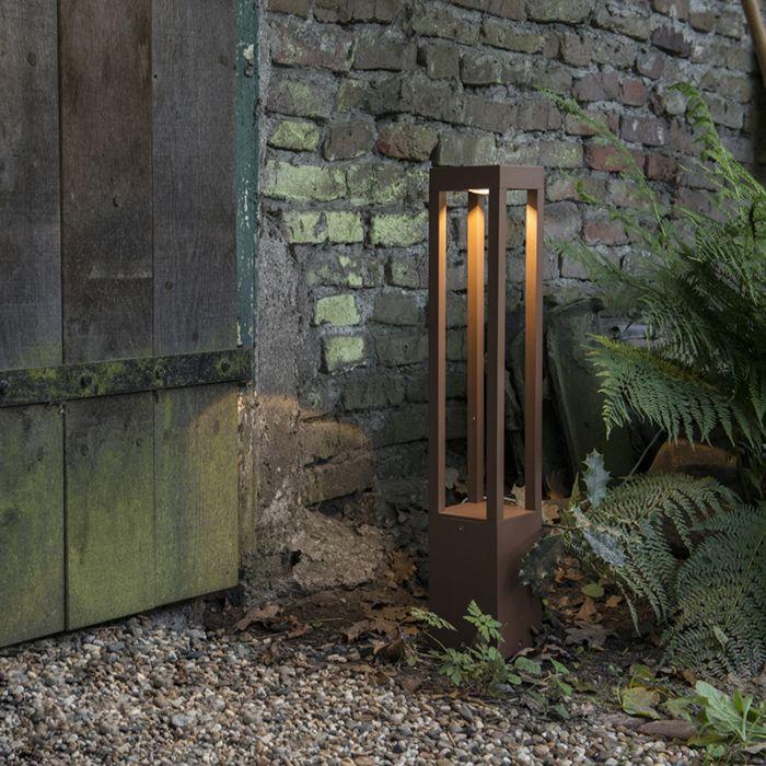 Lykta-till-gång-och-terrass-'Krosno'-Moderna-brunrost/aluminium---LED-inkluderat-/-Utomhuslampa