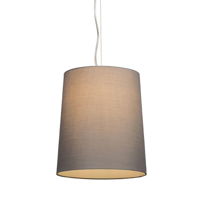 Taklampa-'Cappo-1'-Lantlig-grå/tyg---Passande-för-LED-/-Inomhus