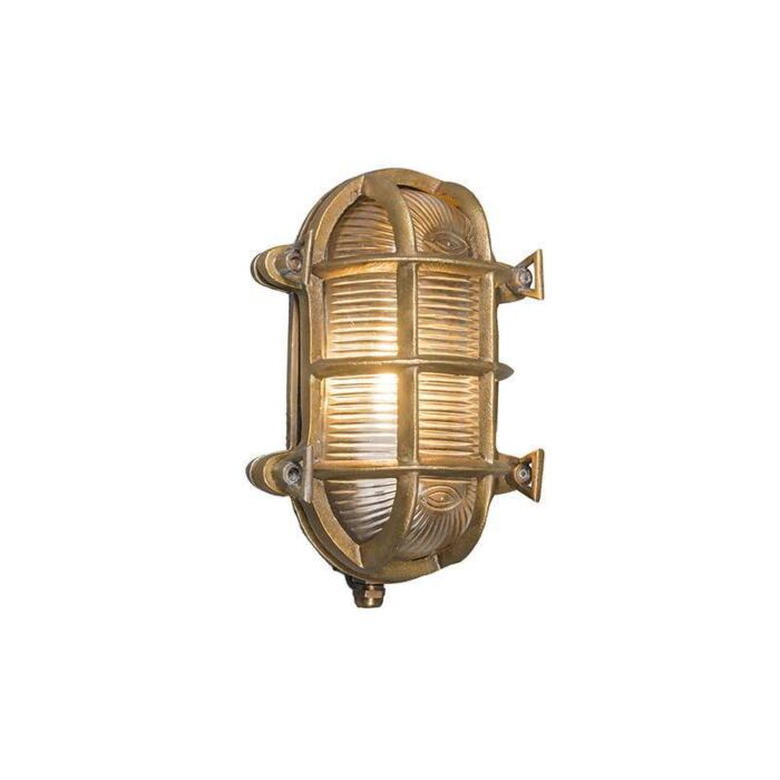 Plafond-och-vägglampa-'Nautica-O'-Klassisk-guld/nickel---Passande-för-LED-/-Utomhuslampa,-Inomhus,-Badrum