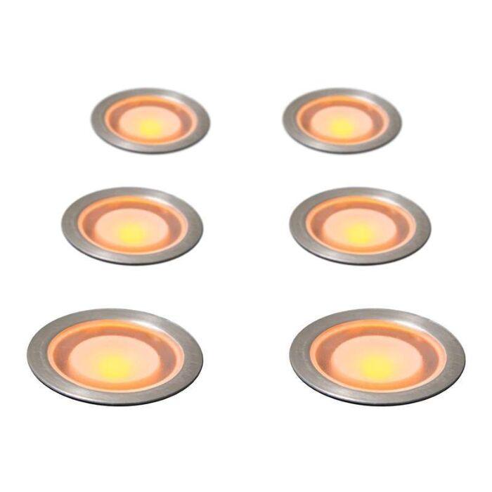 Set-med-6-Försänkta-Spotlights-Gul-IP54-WW---Guard