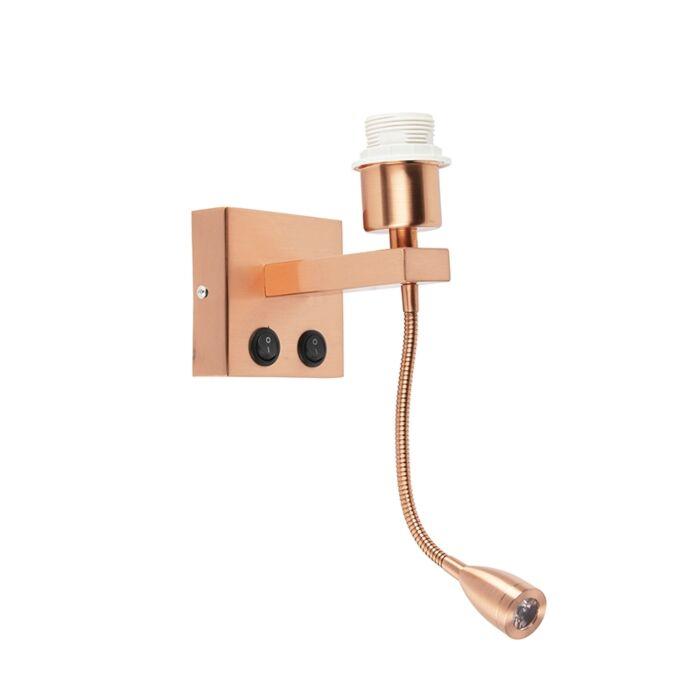 Vägglampa-med-läslampa-'Brescia-Combi'-Moderna-koppar---Passande-för-LED-/-Inomhus