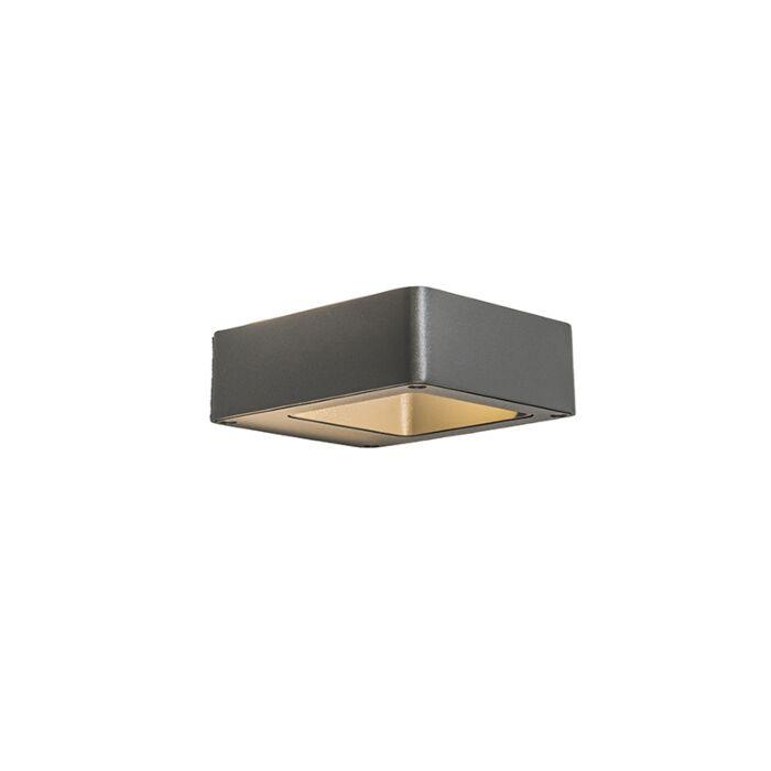Vägglampa-'Hollow'-Design-grafit/aluminium---LED-inkluderat-/-Utomhuslampa