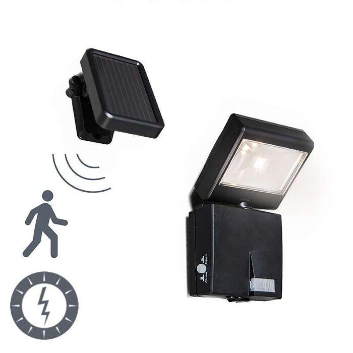 Vägglampa-med-rörelsedetektor/sensor-på-solcell-'Dark-1'-Moderna-svart/polyester---LED-inkluderat-/-Utomhuslampa