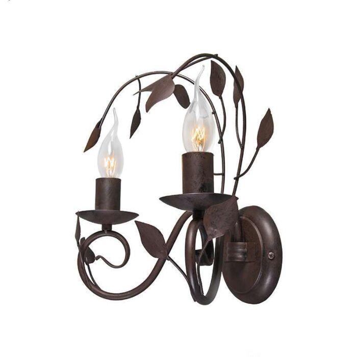 Vägglampa-'Ramoscelli-2'-Klassisk-brunrost/metall---Passande-för-LED-/-Inomhus
