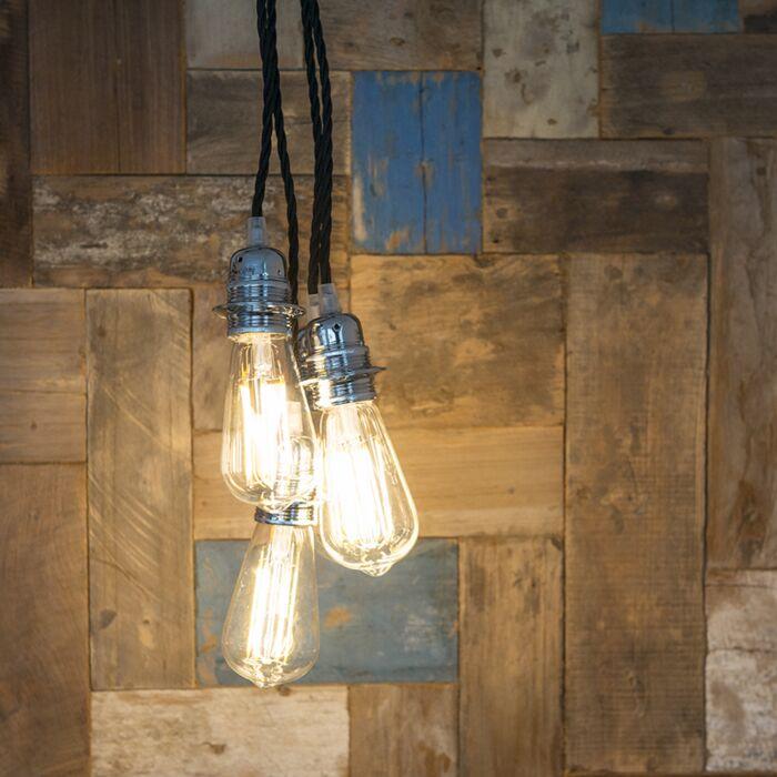 Minimalistisk-taklampa-'Cavo-Classic'-Retro-krom/tyg-Passande-för-LED