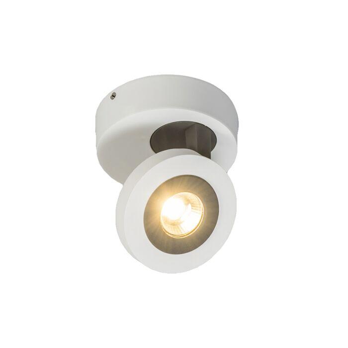 Plafond-strålkastare-'Discus-1'-Design-vit/aluminium---LED-inkluderat-/-Inomhus