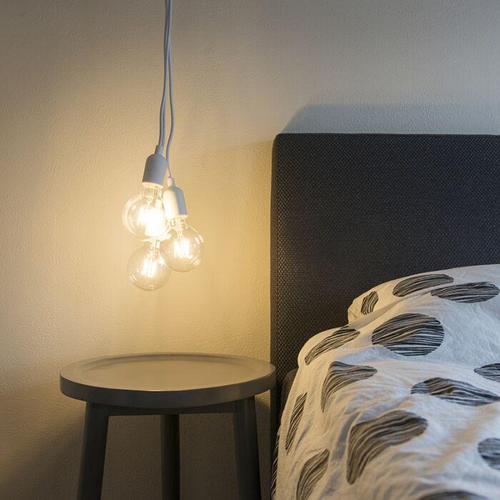 Minimalistisk-taklampa-'Cava'-Moderna-vit/tyg-Passande-för-LED