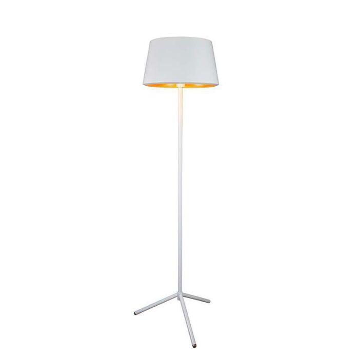 Golvlampa-med-läslampa-'Vegas'-Design-vit/metall---Passande-för-LED-/-Inomhus