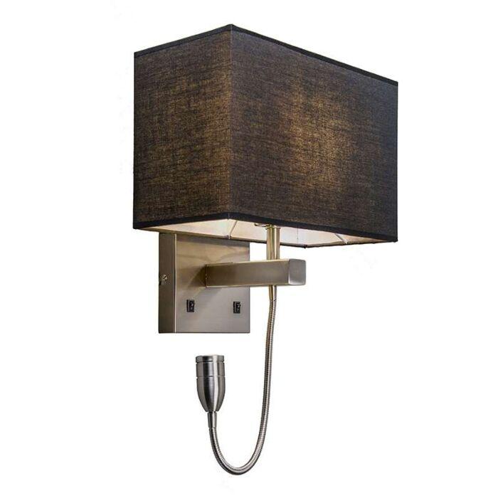 Vägglampa-stål-med-svart-skugga-och-läsarm-inkl-LED---Bergamo
