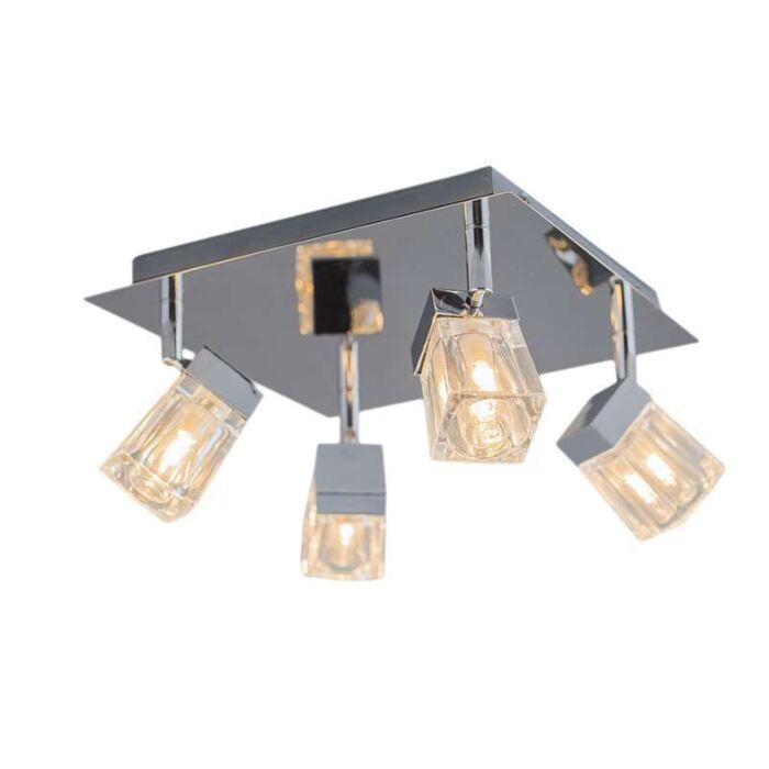 Plafond-strålkastare-'Clou-4'-Moderna-krom/rostfritt-stål---Passande-för-LED-/-Inomhus,-Badrum