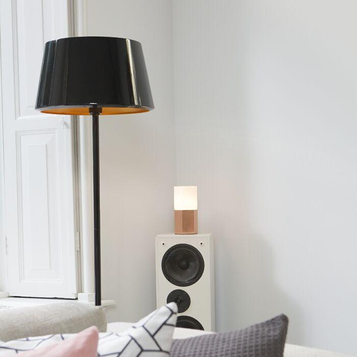 Golvlampa-med-skärm-'Vegas'-Design-svart/metall---Passande-för-LED-/-Inomhus