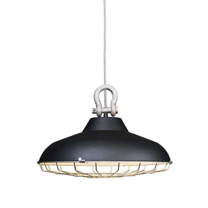 Taklampa-'Strijp'-Industriell-svart/metall---Passande-för-LED-/-Inomhus