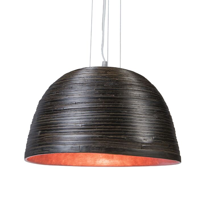 Taklampa-'Pattaya'-Design-svart/trä---Passande-för-LED-/-Inomhus