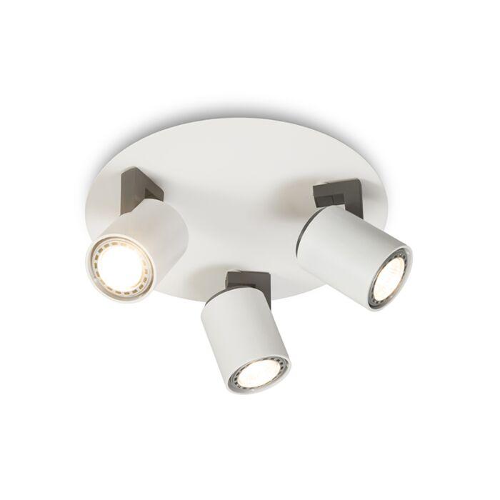 Plafond-strålkastare-'Fuse-3'-Design-vit/aluminium---Passande-för-LED-/-Inomhus