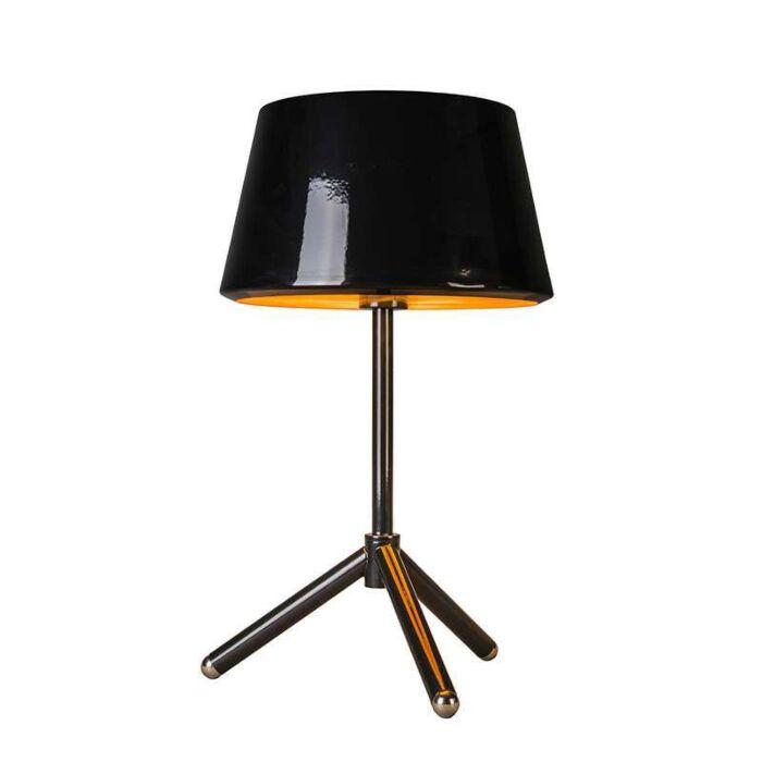 Bordslampa-med-skärm-'Vegas'-Design-svart/metall---Passande-för-LED-/-Inomhus