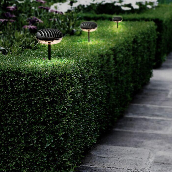 Trädgård-strålkastare-med-spett-'Spear'-Moderna-grafit/aluminium---LED-inkluderat-/-Utomhuslampa