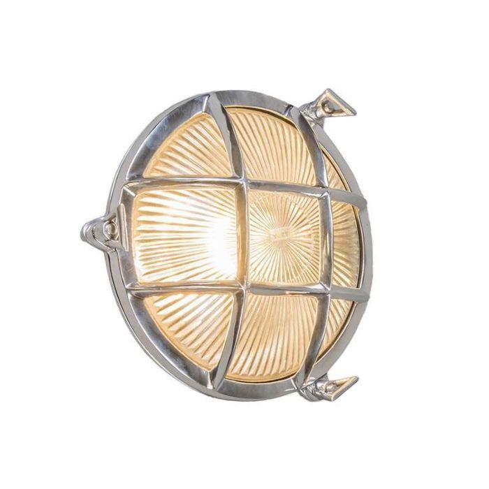 Plafond-och-vägglampa-'Nautica-R'-Klassisk-krom/nickel---Passande-för-LED-/-Utomhuslampa,-Inomhus,-Badrum