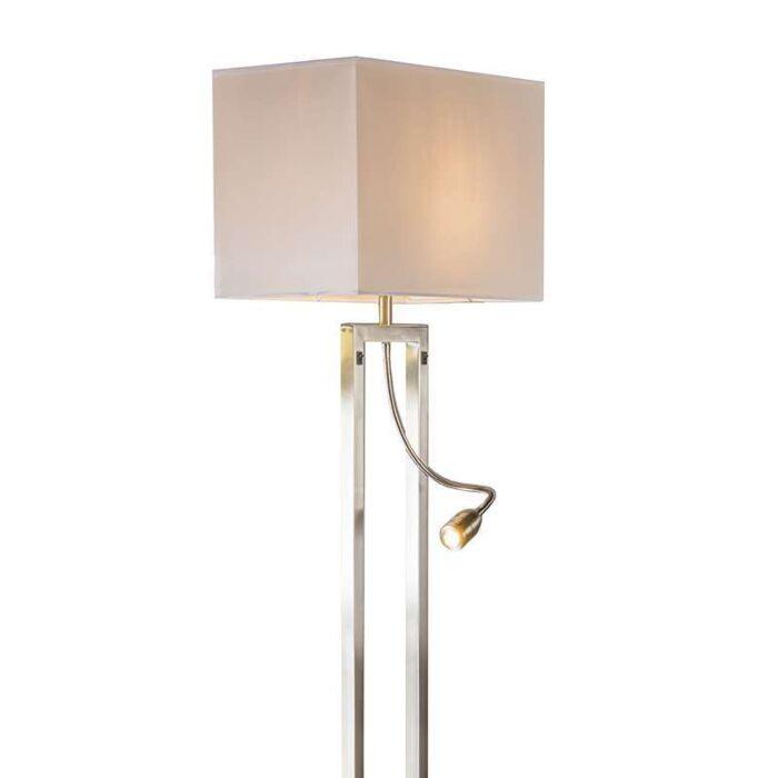 Golvlampa-med-skärm-'Bergamo'-Moderna-stål---Passande-för-LED