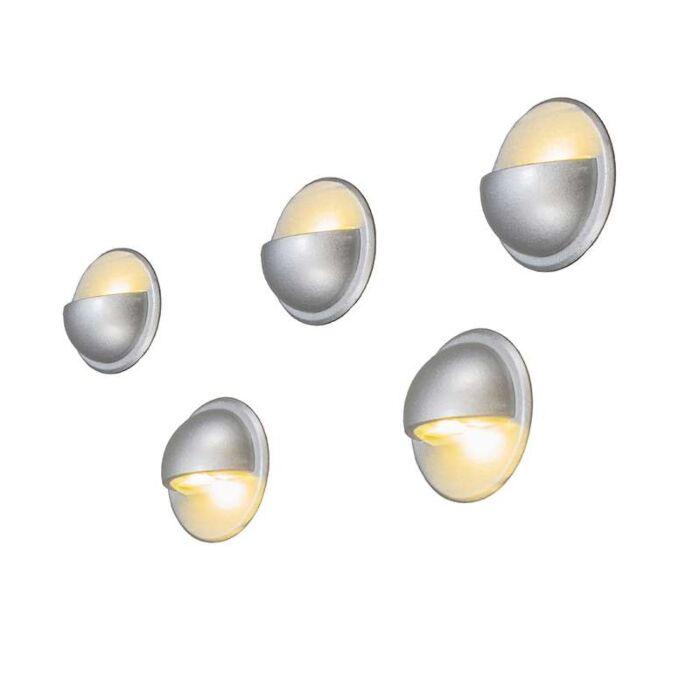 Inbyggd-vägglampa-'Jock-5-IP65-WW'-Moderna-grå/aluminium---LED-inkluderat-/-Utomhuslampa,-Inomhus,-Badrum
