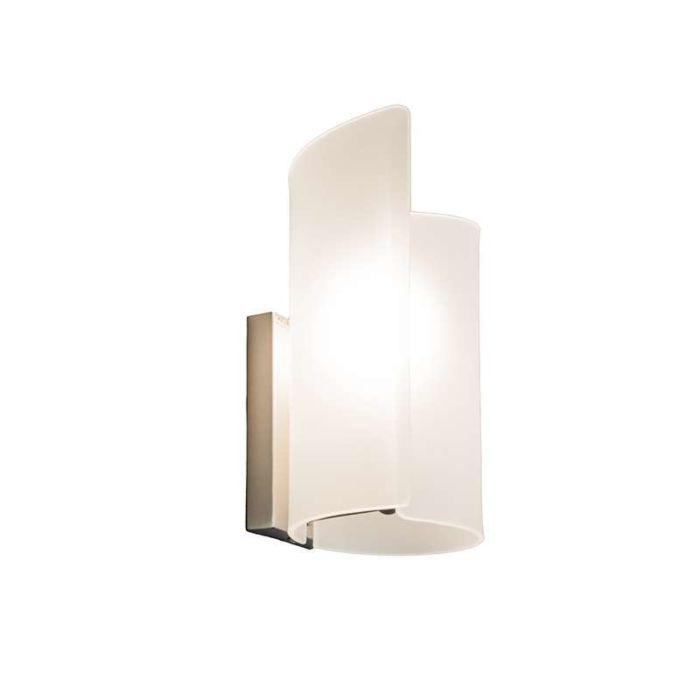 Vägglampa-'Salerno'-Moderna-vit/glas-Passande-för-LED