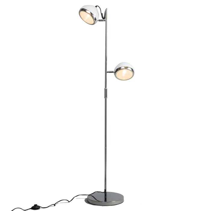 Golvlampa-'Biker-2'-Retro-vit/metall---Passande-för-LED-/-Inomhus