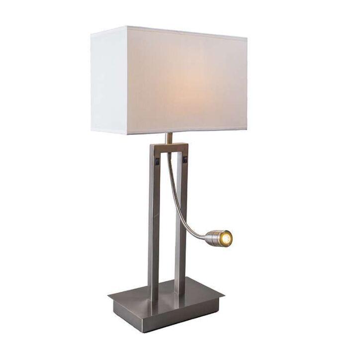 Bordslampa-med-skärm-'Bergamo'-Moderna-vit/metall---Passande-för-LED-/-Inomhus