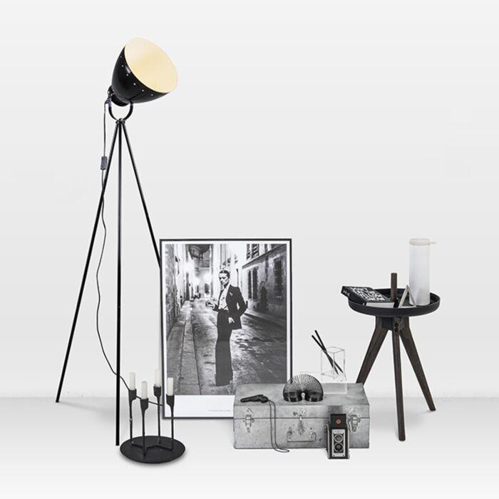 Tripod/staviv-golvlampa-'Rytel'-Retro-svart/metall---Passande-för-LED-/-Inomhus