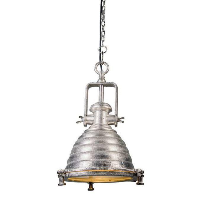 Taklampa-'Fort-Raw-M'-Industriell-stål/nickel---Passande-för-LED-/-Inomhus