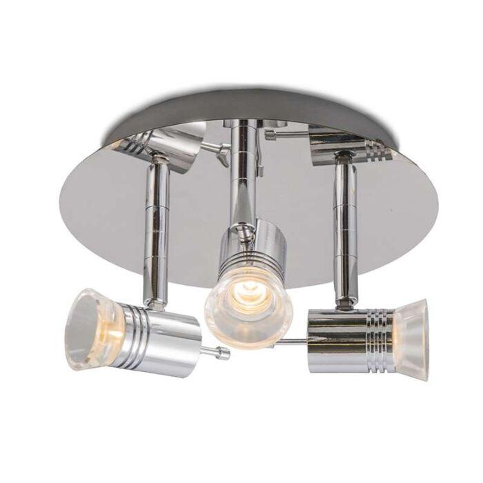 Plafond-strålkastare-'Cover-3'-Moderna-krom/rostfritt-stål---LED-inkluderat-/-Inomhus,-Badrum