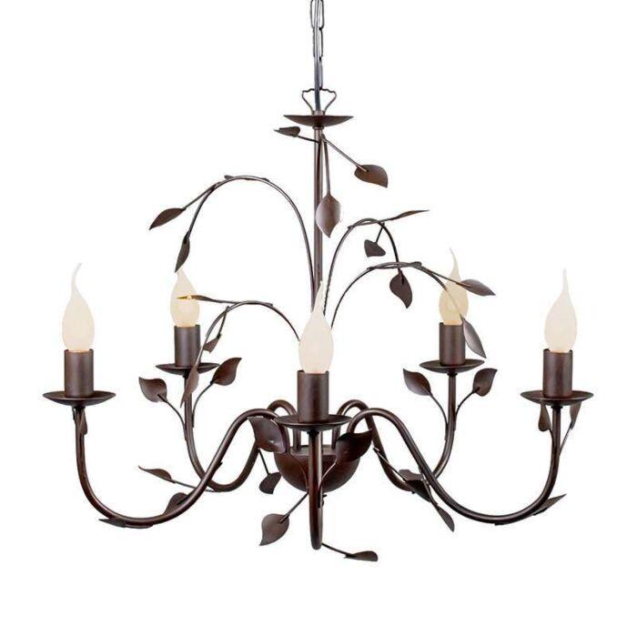 Italiensk-takkrona-'Ramoscelli-5'-Klassisk-brunrost/metall---Passande-för-LED-/-Inomhus