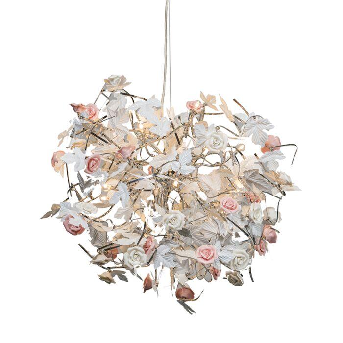 Stor-taklampa-'Rosa'-Moderna-vit/metall---Passande-för-LED-/-Inomhus