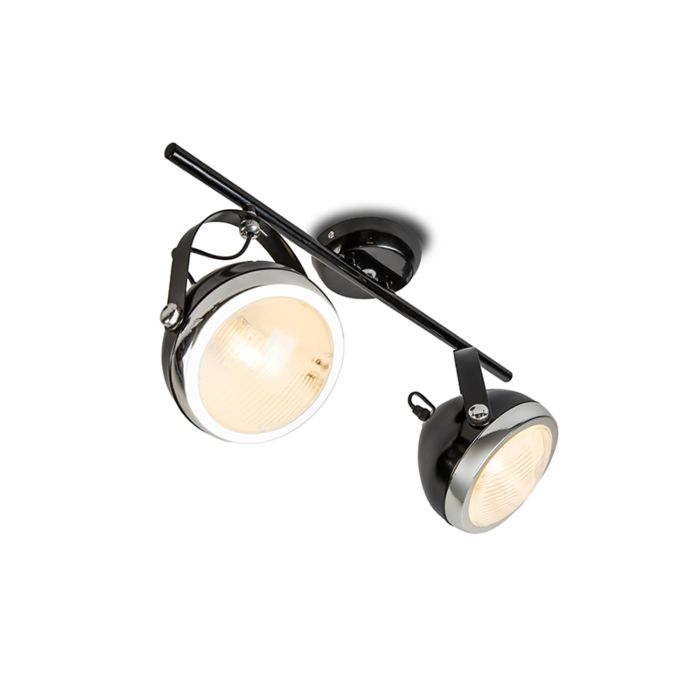 Plafond-strålkastare-'Biker-2'-Retro-svart/metall---Passande-för-LED-/-Inomhus