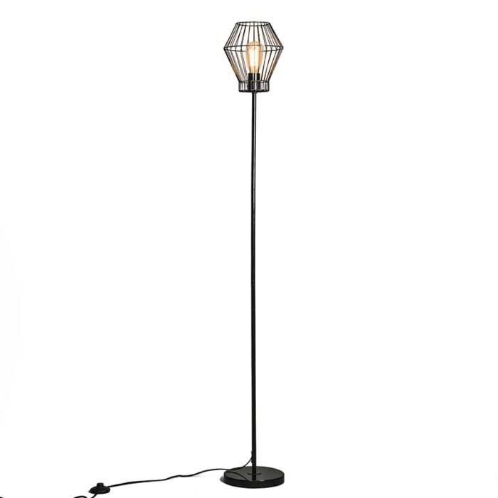 Golvlampa-'Frame-E'-Moderna-svart/metall---Passande-för-LED-/-Inomhus