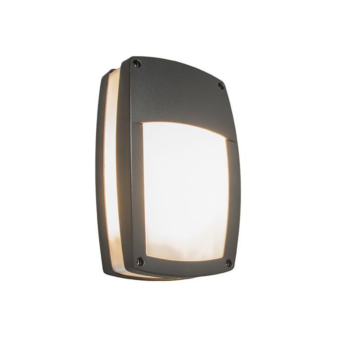 Modern-yttervägglampa-mörkgrå---Glow-recta-1