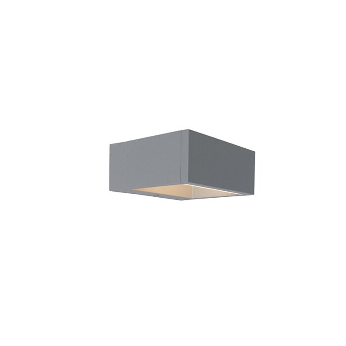 Vägglampa-'Frame'-Moderna-grå/aluminium---LED-inkluderat-/-Utomhuslampa,-Inomhus,-Badrum
