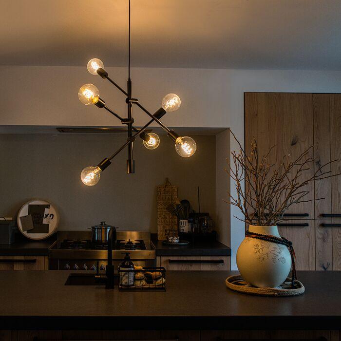 Industriell-hänglampa-svart-6-ljus---Sydney