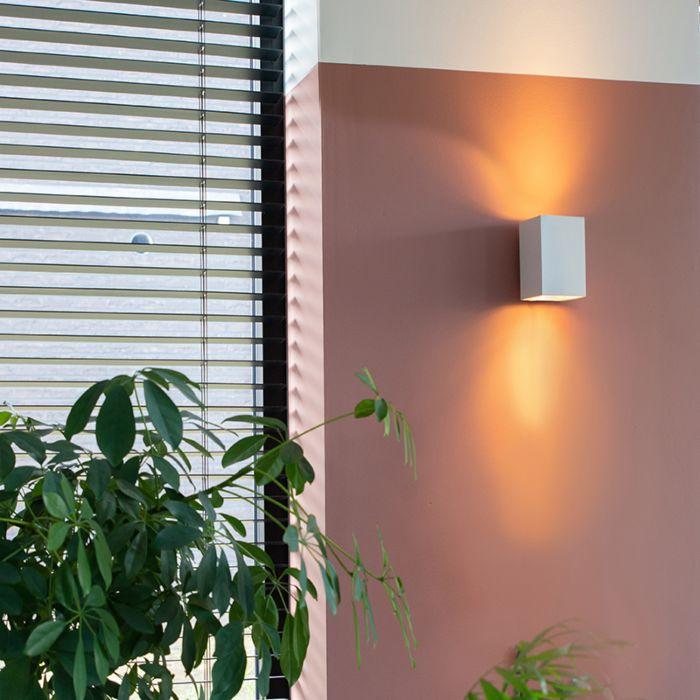 Modern-vägglampa-fyrkantig-vit---Sandig