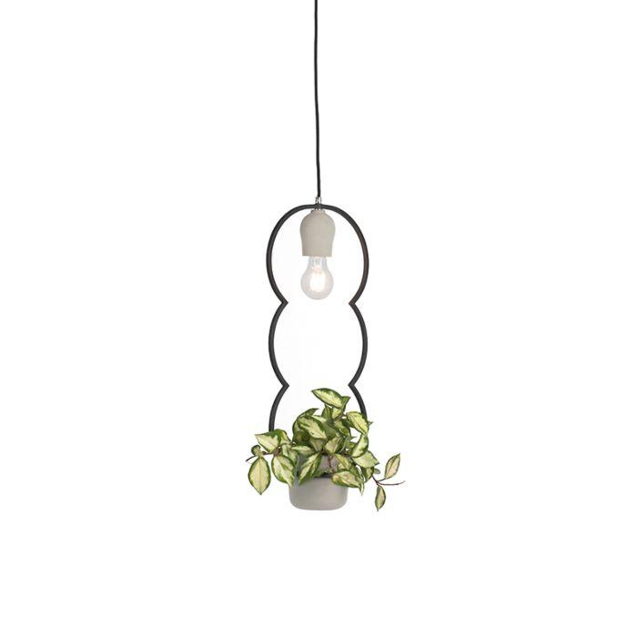 Taklampa-'Fauna'-Lantlig-grå/sten/betong---Passande-för-LED-/-Inomhus
